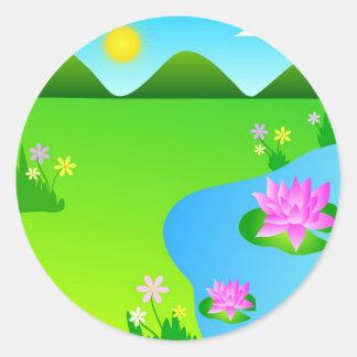 Flores de loto rosadas - pegatina