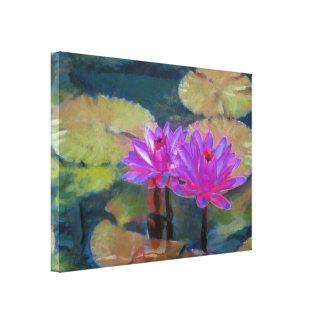 Flores de Lotus en la floración Impresión En Lona Estirada