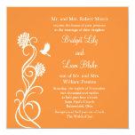 Flores de Lotus que casan la invitación (naranja Invitación 13,3 Cm X 13,3cm