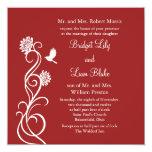 Flores de Lotus que casan la invitación (roja) Invitación 13,3 Cm X 13,3cm