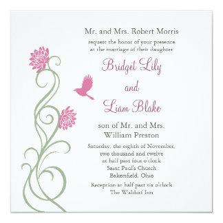Flores de Lotus que casan la invitación (white) Invitación 13,3 Cm X 13,3cm