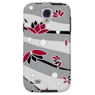 Flores de Lotus rojas en rayas grises Funda Para Galaxy S4