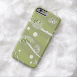Flores de Lotus verdes en rayas verdes olivas Funda De iPhone 6 Barely There