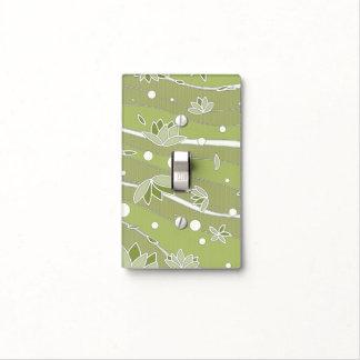 Flores de Lotus verdes en rayas verdes olivas Cubiertas Para Interruptor