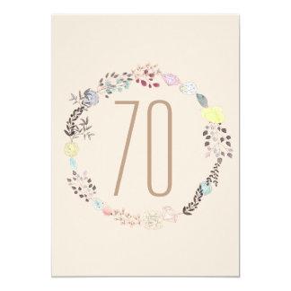 """Flores de lujo y cumpleaños de los diamantes 70.o invitación 5"""" x 7"""""""