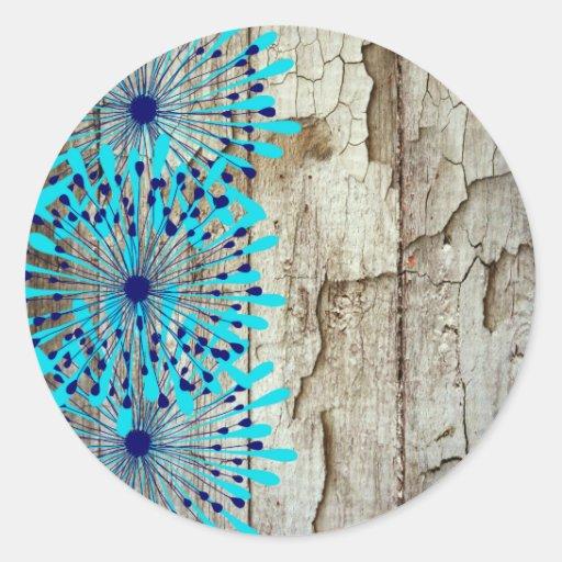 Flores de madera del azul del trullo del granero pegatina redonda