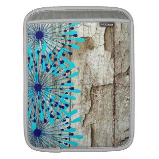 Flores de madera del azul del trullo del granero v fundas para iPads