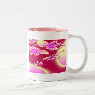 Flores de mariposa taza dos tonos