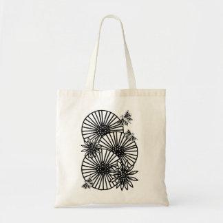 flores de mariposas de los paraguas bolsa lienzo