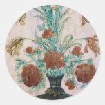 Flores de mármol del mosaico pegatinas redondas