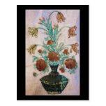 Flores de mármol del mosaico postal