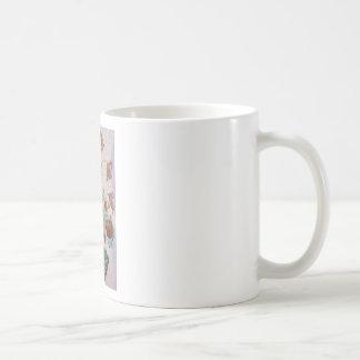 Flores de mármol del mosaico tazas de café