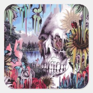 Flores de mayo, cráneo de fusión del paisaje pegatina cuadrada
