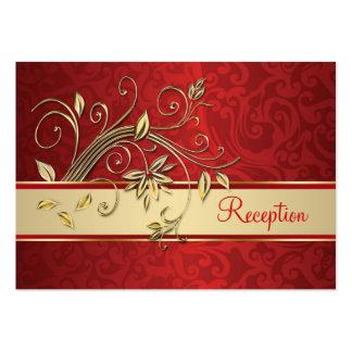Flores de oro en la recepción roja del damasco plantillas de tarjetas de visita