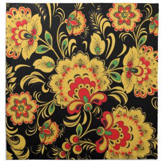 Flores de oro Khokhloma Servilletas Imprimidas