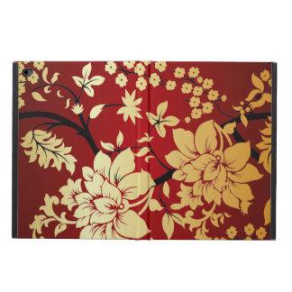 Flores de oro orientales en rojo