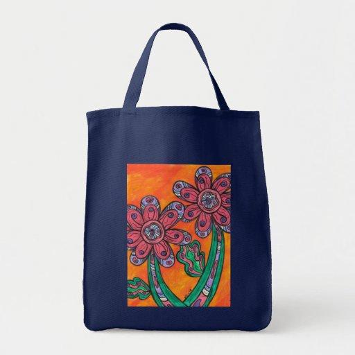 Flores de otro mundo 2 bolsa tela para la compra