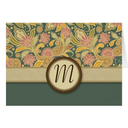 Flores de Paisley y de la fan con el monograma Felicitacion