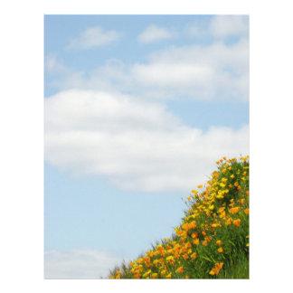 Flores de papel de la amapola del prado del verano plantillas de membrete