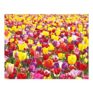 Flores de papel del tulipán de Scrapbooking Srping Plantilla De Membrete