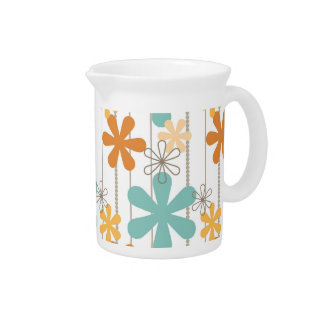 Flores de pared azules anaranjadas del estampado d jarra para bebida