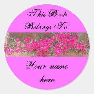 Flores de pared placa de libro etiquetas redondas