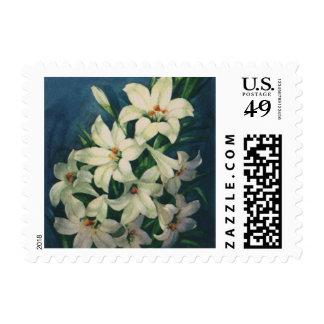 Flores de Pascua del vintage, lirios blancos del Sellos
