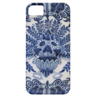 Flores de pavo real holandesas azules y blancas de iPhone 5 cárcasas