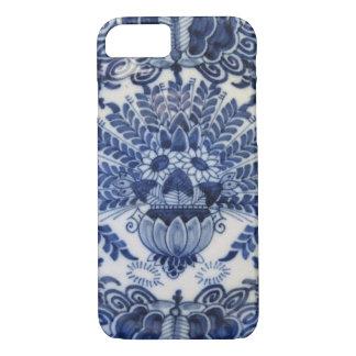 Flores de pavo real holandesas azules y blancas de funda iPhone 7