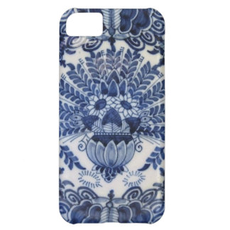 Flores de pavo real holandesas azules y blancas de funda para iPhone 5C