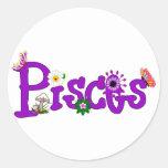 Flores de Piscis Pegatina Redonda