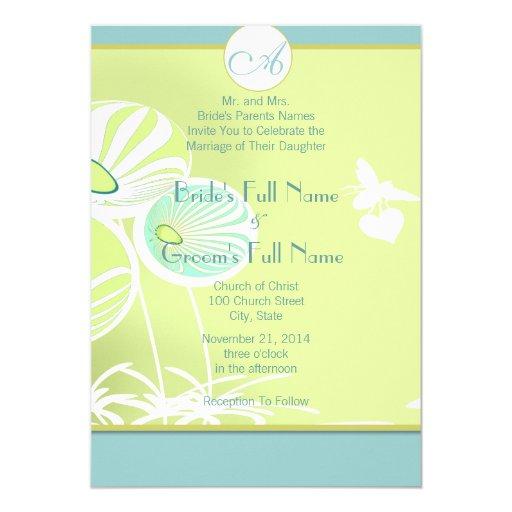 Flores de plata y abejas azules que casan la anuncios