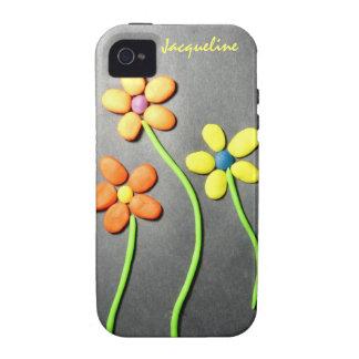 Flores de Playdough de la primavera Case-Mate iPhone 4 Funda