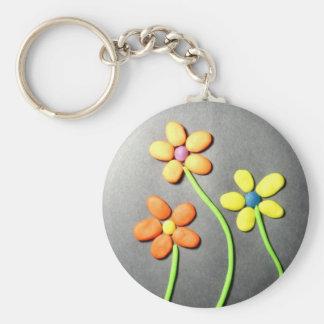 Flores de Playdough de la primavera Llavero Redondo Tipo Pin