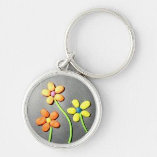 Flores de Playdough de la primavera Llavero Redondo Plateado