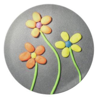 Flores de Playdough de la primavera Plato
