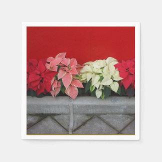 Flores de Pointsettia del navidad Servilletas Desechables