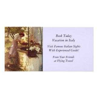 Flores de riego del pozo tarjetas fotográficas personalizadas