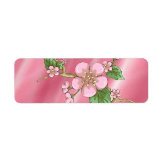 Flores de Sakura Etiqueta De Remite