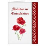 Flores de Saludos de   Cumpleaños Red PoppiesGarde Felicitaciones
