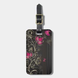 Flores de seda etiquetas maleta
