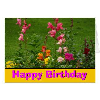 Flores de Snapdragon con feliz cumpleaños rosado Tarjeta De Felicitación