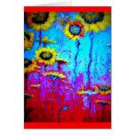 Flores de Sun de la luz de luna azul por Sharles Felicitacion