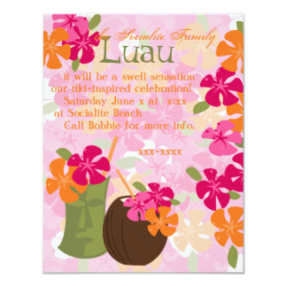 "Flores de Tiki Invitación 4.25"" X 5.5"""