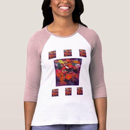 Flores de toda la camiseta de los colores