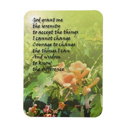 Flores de trompeta del rezo de la serenidad imanes de vinilo
