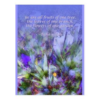 Flores de una postal de Baha i del jardín