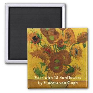 Flores de Van Gogh, florero con 15 girasoles Imán Cuadrado
