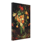 Flores de Van Gogh, florero con Zinnias y geranios Lienzo Envuelto Para Galerías