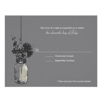 Flores de Wid de la tarjeta de RSVP y tarro de alb Anuncio Personalizado